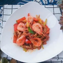 快手菜,五彩杂蔬肉丝爆虾